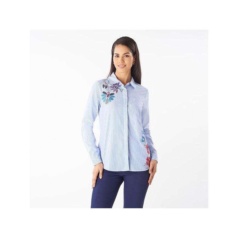 Blusa azul bordada manga larga 019095