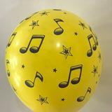 globo notas musicales 12 pulgadas x5u. surtido desinflado
