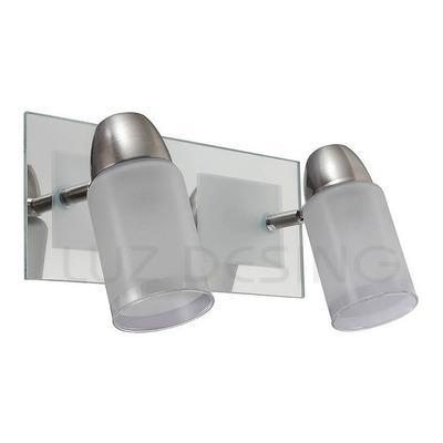 Aplique 2 Luces Movil Vidrio Baño Apto Led E-27 Luz Desing