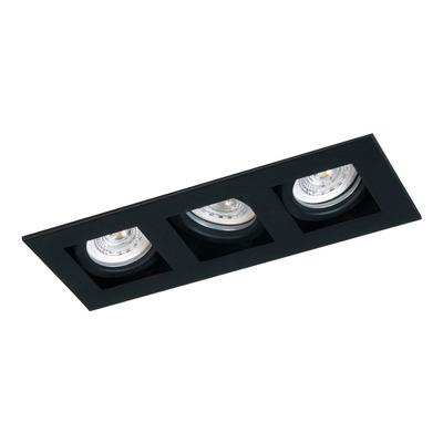 Plafon Embutir 3 Luces Con Led Antideslumbrante Negro Movil