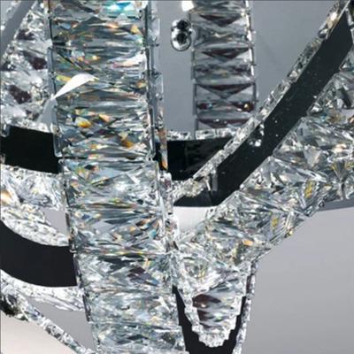 Araña Colgante Cristal Cromo Led Elipse 30w Deco Moderno Pal