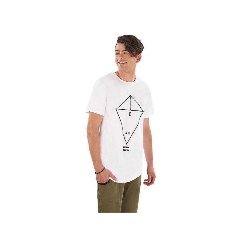 Camisa blanca estampada manga corta 014624