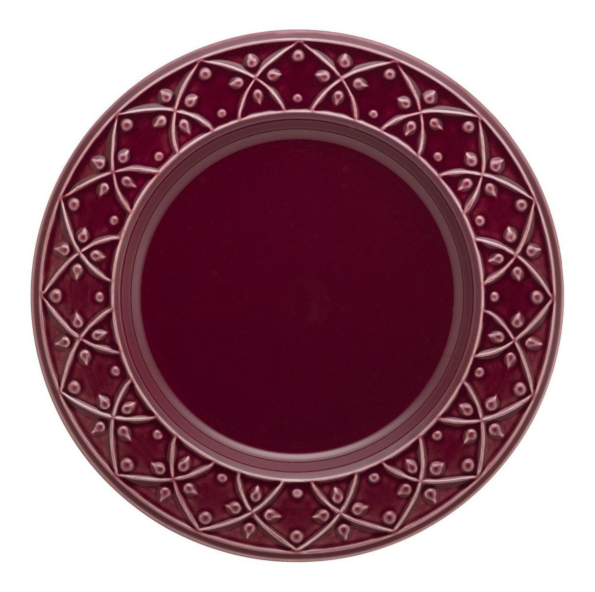 Set 6 Platos Playo Ceramica Oxford Corvina Bordo Finorelieve