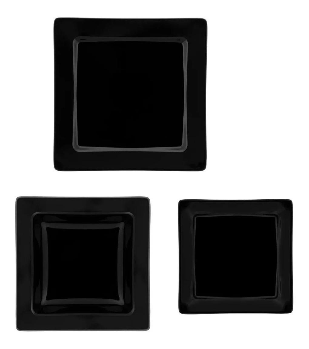 Set X 18 Pzs Platos Vajilla Porcelana Cuadrado Negro Oxford