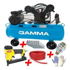 Combo Tapicero Compresor Aire 100 L 3hp Gamma + Engrampadora