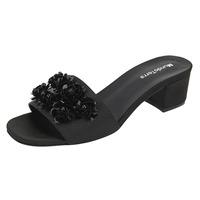 Sandalia De Tacón Negra Con Flores 020527