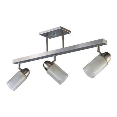 Plafon 3 Luces Acero Vidrio Cabezal Movil Apto Led E27