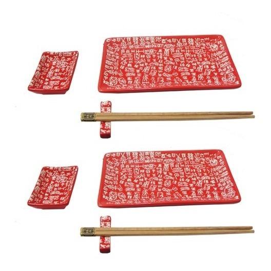 Set De Sushi Porcelana Para 2 Personas 10 Piezas Decorado