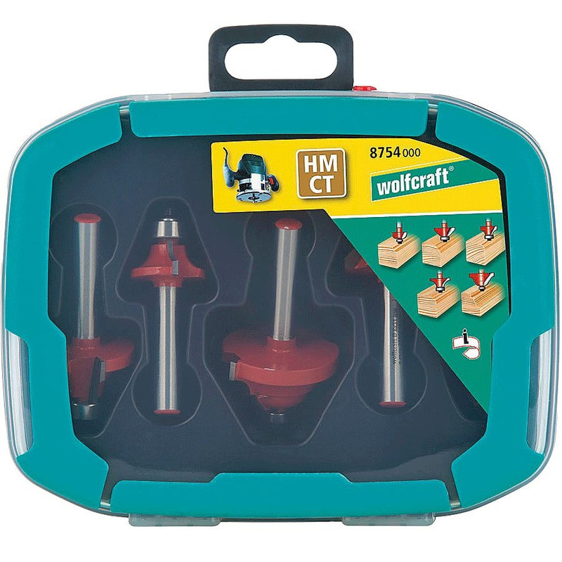 Jogo com 5 Fresas para Tupia Perfil Redondo - 875400 - Wolfcraft