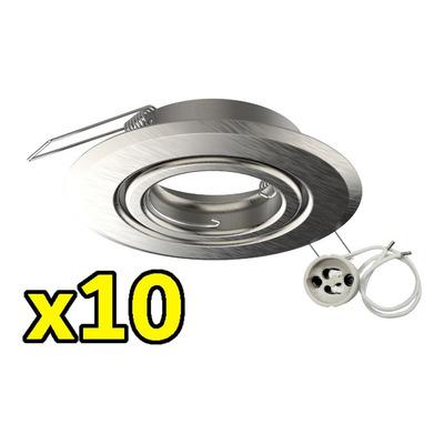 X 10 Spot Embutir Acero Movil Zocalo Gu10 Sin Lampara