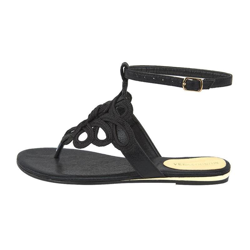 Sandalia De Piso Negro Con Correa 020101