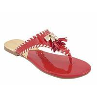 Sandalia roja con flecos 016094