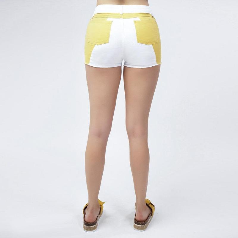 Short Blanco Con Amarillo 019472
