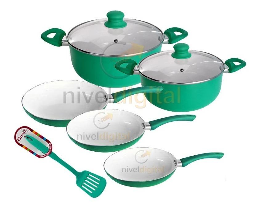 Set Bateria Cocina 7 Pzs Carol Ceramica Antiadhe + Espatula