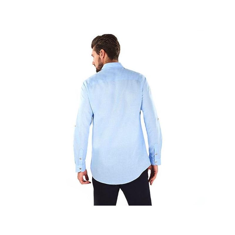 Camisa azul con botonadura  014618