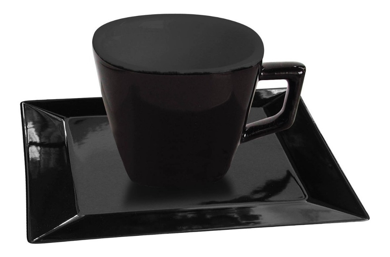 6 Tazas 200 Ml Porcelana Negra Plato Cuad Oxford