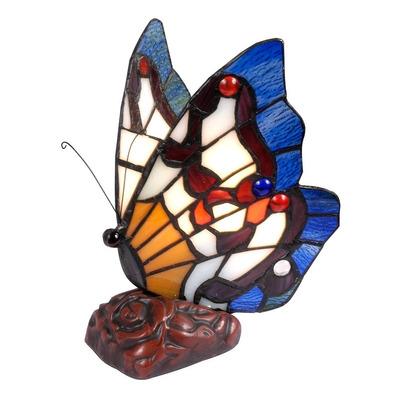 Iluminación Velador De Mesa Tiffany Mariposa Azul 154