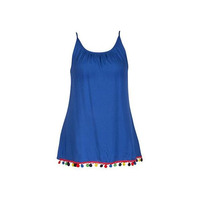 Blusa azul multicolor con tirantes 012638