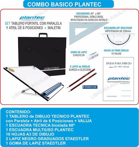 Kit Plantec Tablero Dibujo Tecnico Valija Escuadras Hoja
