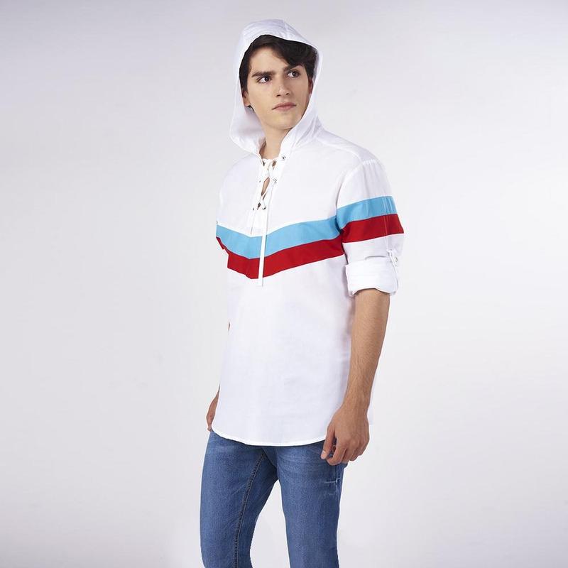 Camisa Blanca Con Líneas Multicolor 019465