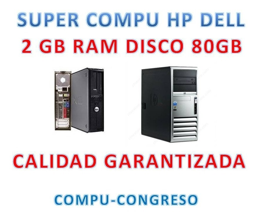 Super Pc Cpu Dell Hp Intel 3.0ghz 2gb Ram Disco 80gb Wi Fi