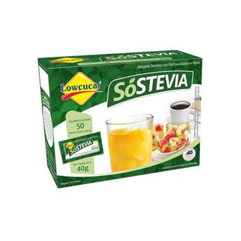 Adocante em Po SoStevia 100% Natural - 50 Saches Lowcucar