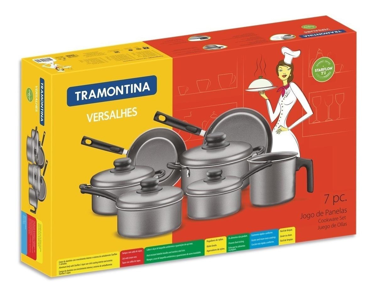 Bateria Cocina Teflon 7 Pzs Tramontina Versalhes Starflon T1