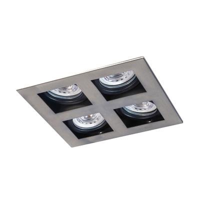 Plafon Embutir 4 Luces Con Led Antideslumbrante Acero Movil