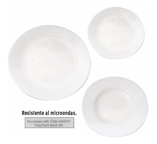 Set X 18 Vajilla Platos Vidrio Blanco Liso Resist Microondas