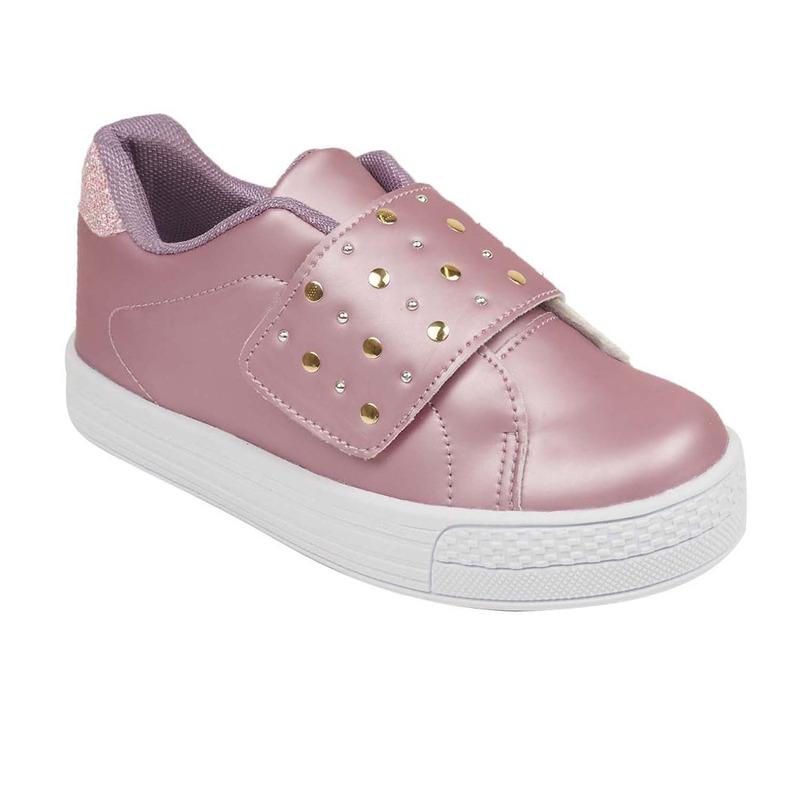 Sneakers rosas con correa y brillos 018846