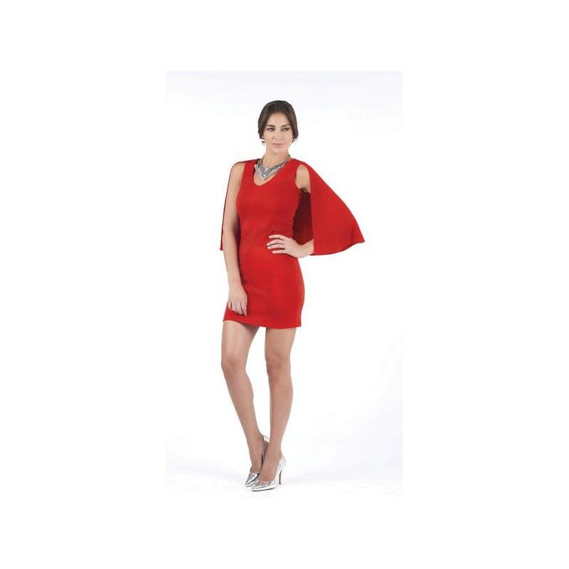 Vestido corto rojo con capa  003466