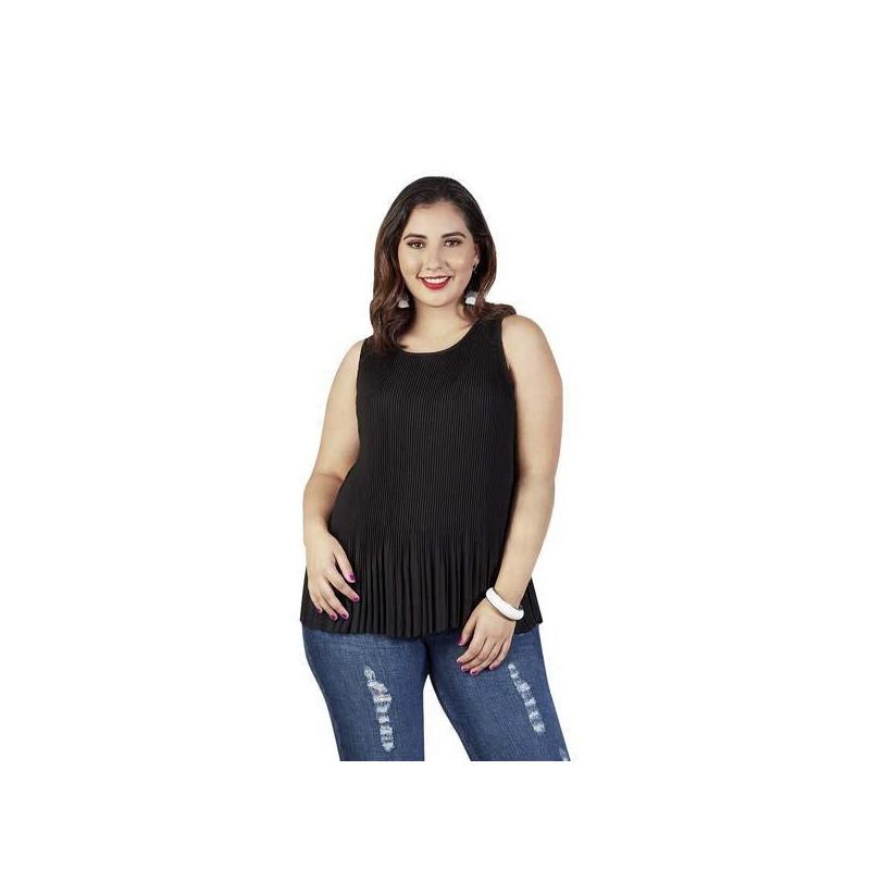 Blusa negra estampada en tablones 015175P