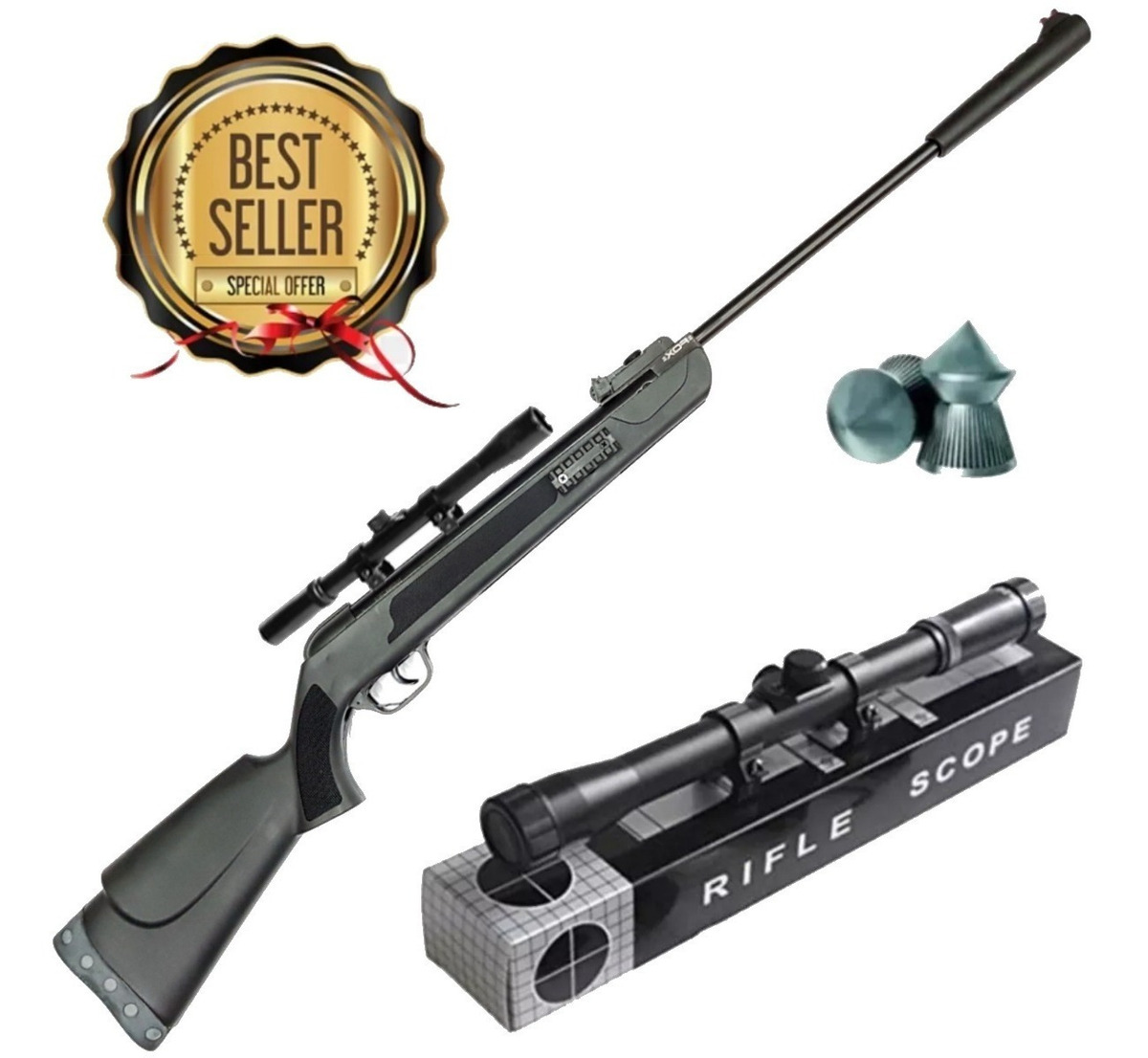 Rifle Aire Comprimido Fox Super Power Potenciado + Mira 4x20