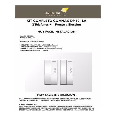 Kit Portero Electrico Commax Dp 101 2 Telefonos + Cerradura