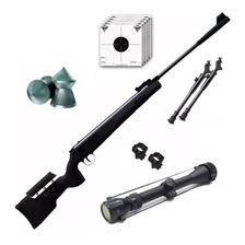 Rifle Aire Comprimido Fox Nitro Magnum Black Mira Zoom Y Bip