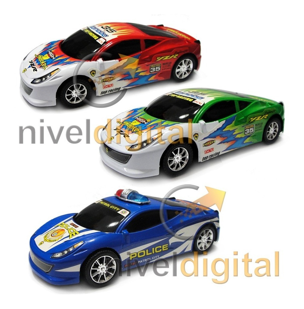 Set X 3 Autos Friccion 21 Cm Carrera + Policia Juguete Niño