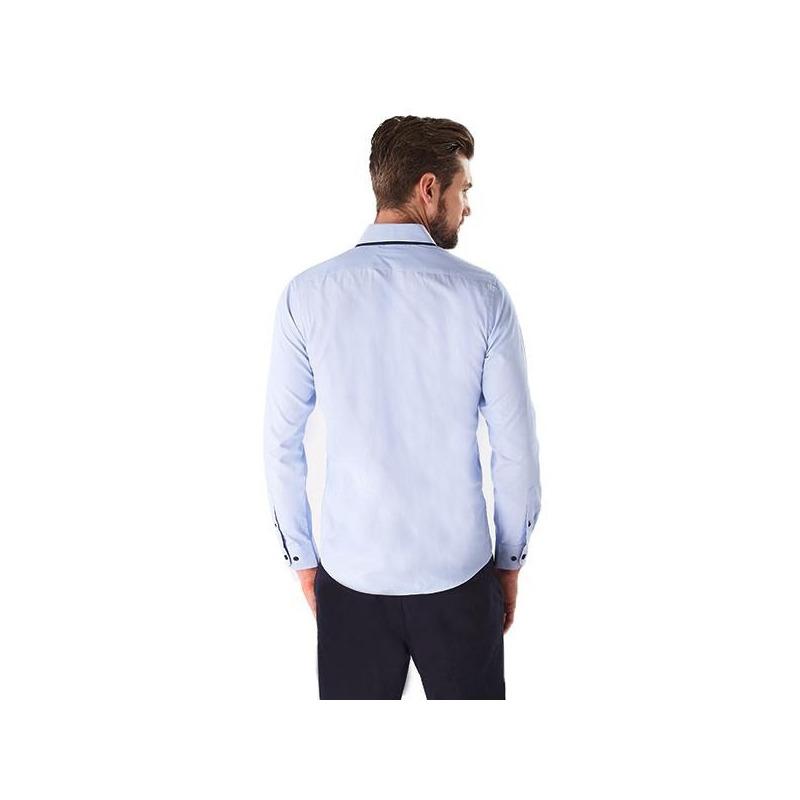 Camisa azul manga larga 015185