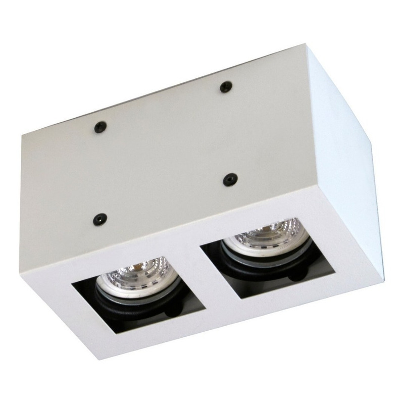 Plafon 2 Luces Con Led 7w Antideslumbrante Blanco Movil
