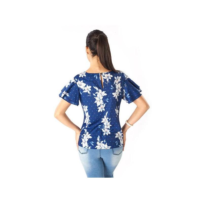 Blusa azul estampada manga corta 019201