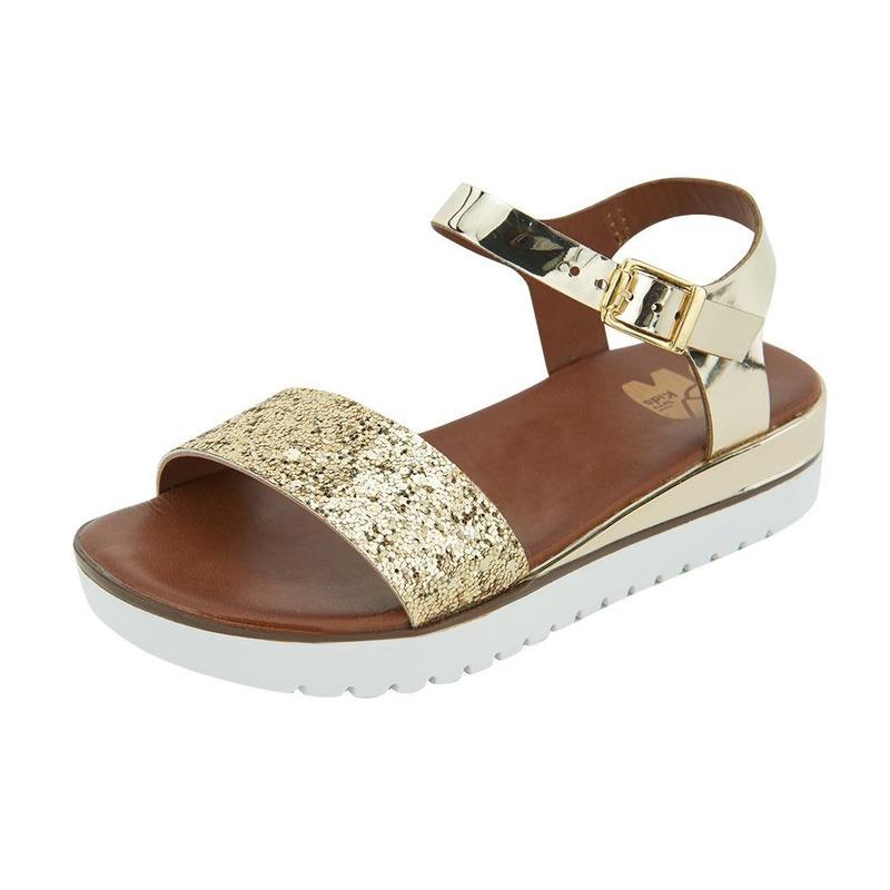 Sandalia De Piso Oro Con Textura 014721