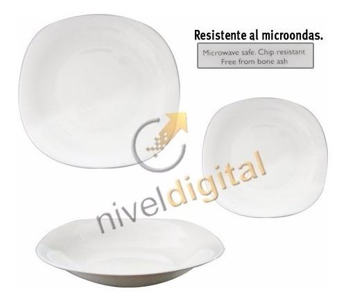 Set X 12 Platos Cuadrado Vidrio Blanco Resiste Microondas