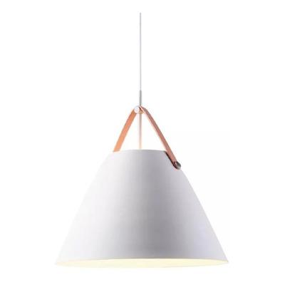 Colgante Haifa Blanco Con Cuero 36cm Lampara Diseño Lk