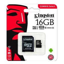 Memoria Micro Sd Kingston 16gb Clase 10 80mbs Celular Go Pro