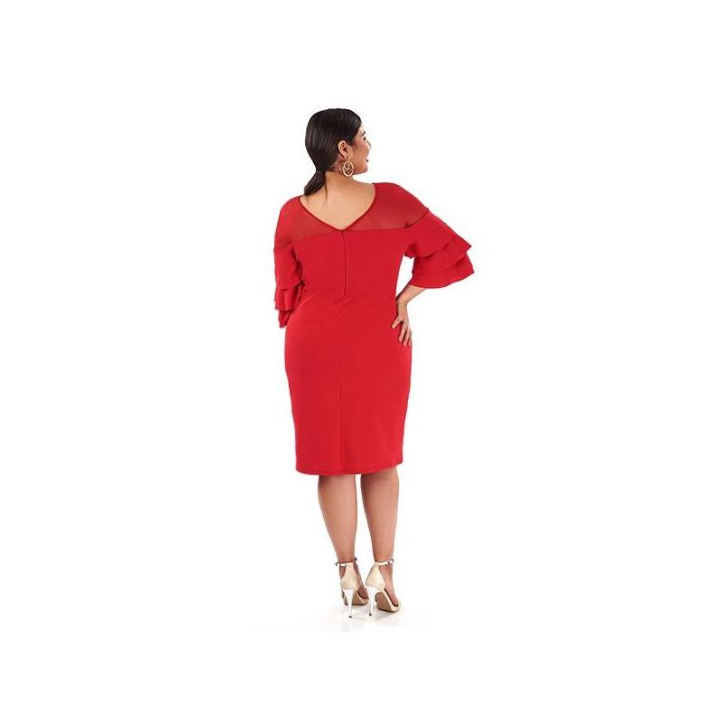 Vestido corto rojo olanes manga 014444P