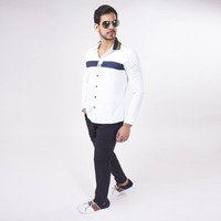 Camisa Blanca Con Línea Azul 019282