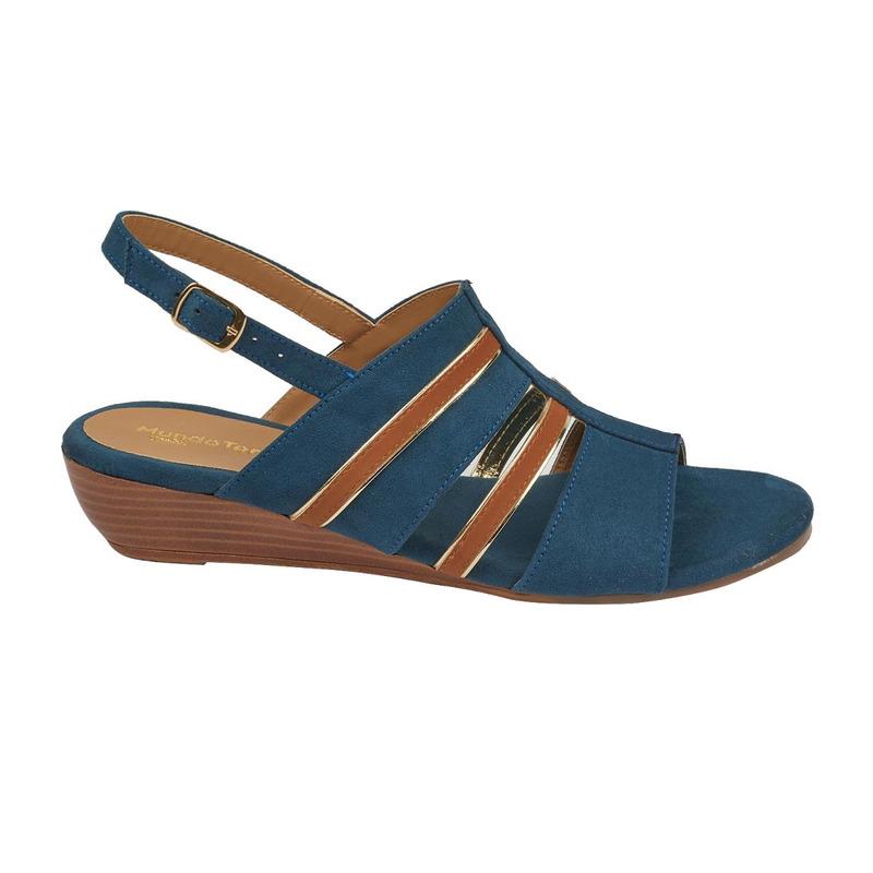 Sandalia plataforma azul gamuza  016709