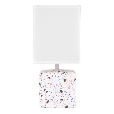 Velador De Mesa Oia Granito Apto Led Deco Moderno Blanco Cie