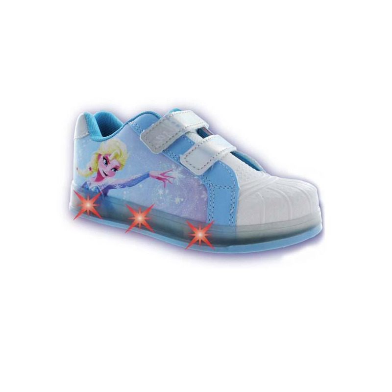 Sneakers Frozen azul y blanco con luces T01121