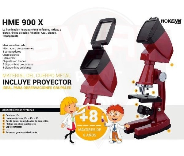 Microscopio Hokenn 900x Zoom Luz Accesorios Proyector - Swat