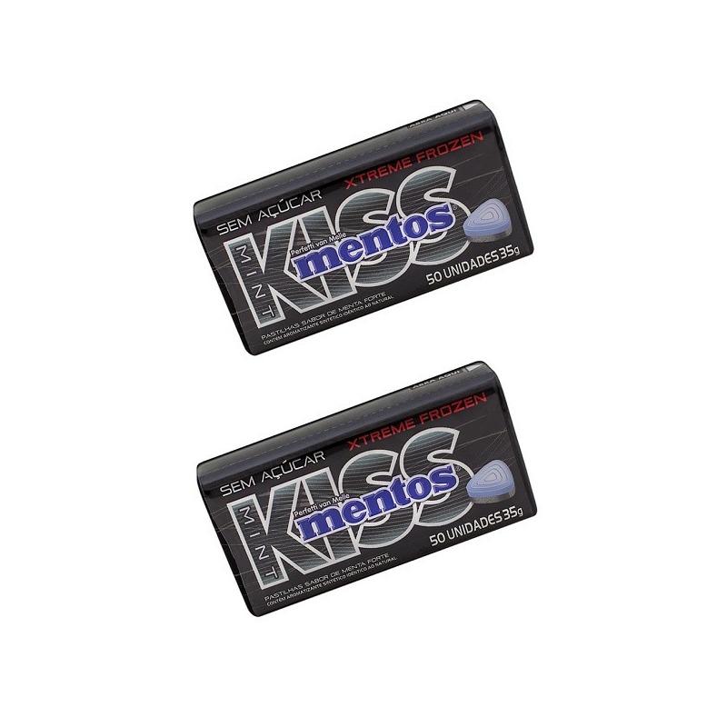 Bala Mint Kiss Xtreme Frozen Sem Açucar Bipack 2x35g Mentos